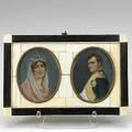 Miniature portraits on ivory napoleon and josephine 19th c double frame with ebony and ivory overlay signed 7 58 x 5