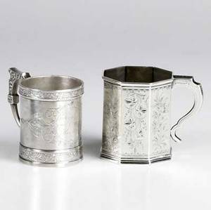 Two american silver tankards r  w wilson octagonal coin silver tankard with engraved floral motif philadelphia ca 18251846 together with a victorian sterling tankard by wood  hughes 1368 ot t
