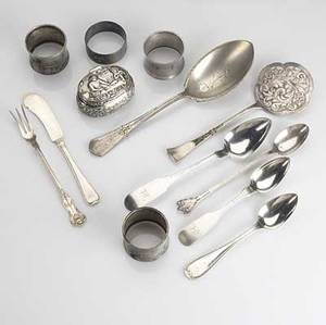 American  european silver by r  w wilson twelve shell decorated coin silver spoons ten fiddleback coin silver serving spoons fourteen fiddleback teaspoons by gorham six king george iii luncheo