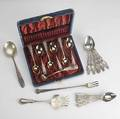 American silver flatware six whiting lily coffee spoons together with cased gorham st cloud demitasse set
