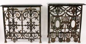Two French Marble Top Iron Console Tables