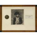 Napoleon autograph mounted in frame with etching and plaque signed f andrieu sold with letter of authenticity by doris harris 1973 etching 5 x 6
