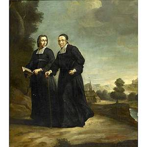 19th c italian school oil on canvas of two clergymen framed 25 12 x 20 34