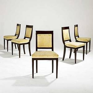 Biedermeier dining chairs set of five mahogany upholstered seats and backs 19th c 19 12 x 18 12 x 34 14