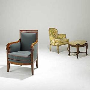 Furniture grouping three pieces biedermeier armchair louis xv style armchair and upholstered bench frame 19th20th c largest 24 x 22 x 35