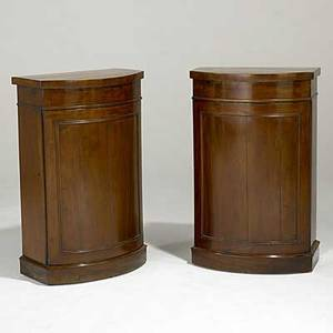 English diminutive bow front cabinets pair in mahogany 19th c 21 x 12 12 x 34