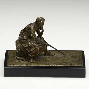 Franz bergman austrian 18381894 bronze of a seated gentleman likely a mathematician 19th20th c signed namgreb 6 x 3 x 4 38