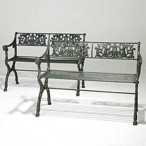 Garden furniture pair of cast iron benches rams head armrests paw feet 20th c 31 x 44 x 18 12