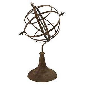 Armillary wrought iron sphere on pedestal base 20th c 45 x 30 x 22