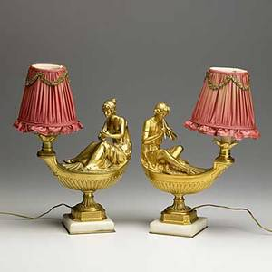 Pair of dore bronze figural lamps aladdin type design marble bases 19th20th c electrified 16 with shade