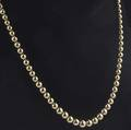 Gold beaded necklace ascending size gold beads 83mm to 43mm in 14k yg 229 gs gw 22
