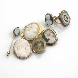 Cameo jewelry 19th20th c seven pieces include gold and lava cameo brooch goldmounted shell and conch cameo brooches gold and hardstone cameo ring and stick pin gold and tricolored jasperware ri