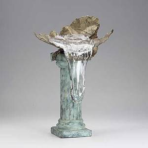 Daisuke shintani patinated bronze and glass sculpture signed d shintani 20 x 13 14 x 9