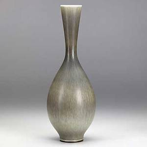 Berndt friberg gustavsberg ceramic vase gray hares fur glaze incised friberg with studio hand mark 12 14 x 4 14