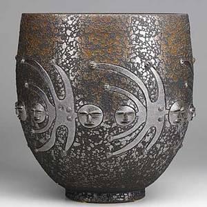 Scheier large glazed vase with overlapping figures inscribed scheier 83 12 14 x 11 12