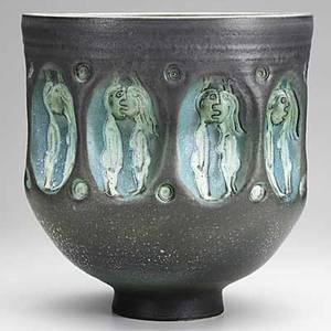Scheier glazed ceramic vessel with couples illegible signature 13 x 12