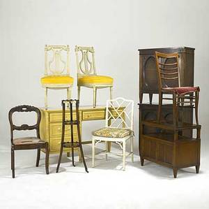 Furniture grouping ten pieces include a pair of mahogany cabinets painted desk end table porringer stand asis and five chairs desk 30 12 x 48 x 19