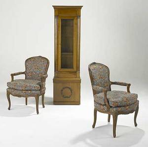 French furniture pair of bergere chairs with floral upholstery and cabriole legs together with an empire style cabinet all 20th c cabinet 67 x 20 x 12