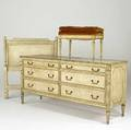 French provincial three piece painted bedroom set with double dresser upholstered bench and single headboard 1968 dresser 33 x 71 x 21