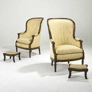 Louis xvi style pair of upholstered armchairs with walnut frames together with a pair of upholstered benches all 20th c chairs 45 12 x 29 x 32