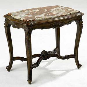 Louis xv style red marble top coffee table with walnut frame 20th c 21 12 x 26 x 17