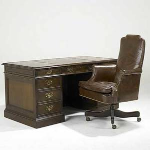 Traditional furniture leathertop kneehole desk together with a hickory co leather executive chair desk 29 12 x 60 x 30