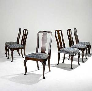 Kindel set of six queen anne style dining chairs with mahogany frames 20th c one in asis condition 39 x 23 x 21