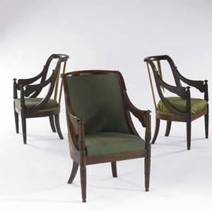 Three english regency armchair frames early 19th c 34 14 x 23 x 17