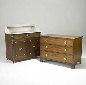 Traditional furniture three drawer dresser with brass pulls on bracket feet together with a marble top washstand 20th c washstand 41 12 x 39 12 x 18 12