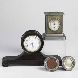 Decorative clocks seth thomas time only mantle clock and german bracket type clock together with sterling rim dresser and gorham sterling frame largest 13 12 x 3 12 x 7 34
