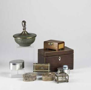 Decorative boxes eleven pieces include tea caddy silver and enamel pill box snuff box oval pewter boxes two oval marble boxes and others largest 7 14 x 3 34 x 5