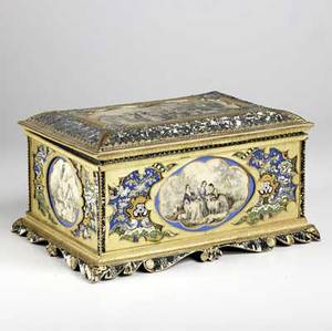 Jewelry box with gilded decoration and decoupage interior 19th c significant losses 14 x 9 12 x 8