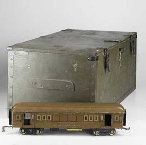 American flyer lines standard gauge model train set includes engine passenger car post office car caboose eight straight sections of track eight curved sections of track and a lionel transformer