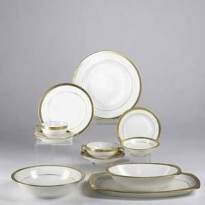 Epiag porcelain dinnerware partial service for eight includes seven dinner plates eight salad plates eight bread plates seven boullion cups with six underplates six teacups with saucers eight bow