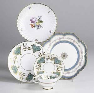 China grouping fiftythree pieces include grosvenor carnalea for tiffany  co nympenberg floral decorated plates and haviland cake plates with cake dish all 20th c largest 8 12
