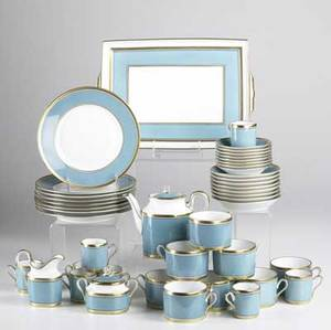 Richard ginori tea set with service for eight includes teapot sugar creamer with underplate demitasse with saucers and cake plates marked richard ginori italy teapot 5 34 x 7 x 3 12