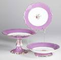 Old paris dessert set includes two matched cake stands with transfer decoration eighteen dessert plates some with chips and a footed bowl cake stands 6 x 10