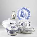 China grouping six pieces include white ironstone soup tureen wedgwood ivanhoe plate two ironstone covered vegetables balmoral platter and chinese vase largest 9 x 9