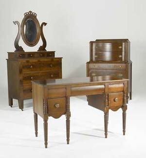 Traditional furniture three pieces in mahogany include empire mirrored chest of drawers two over three drawer louis xxi style chest and vanity with ropeturned legs largest 75 12 x 41 x 18 12