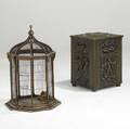 Decorative victorian birdcage together with brass repousse kindling wood box birdcage 28 x 18 x 18