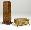 Decorative pedestal with exotic wood inlays together with a lifttop sewing box with similar inlay pedestal 39 x 14 14 sq