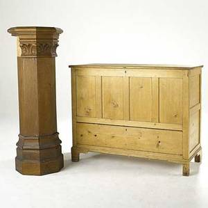 Traditional furniture pine blanket box together with a gothic style pedestal 20th c chest 42x 51 x 23