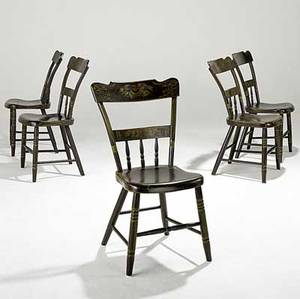 Country furniture five halfspindle plank seat chairs with painted decoration 19th c 34 x 19 12 x 19