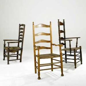 Ladderback armchairs group of three two with rush seats and one with cane seat 18th19th c tallest 46 12 x 18 x 25