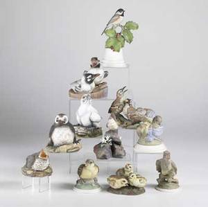 Boehm porcelain birds eleven pieces include bluebirds chickadee thrashers goldfinch flycatcher grouse and others tallest 8 12