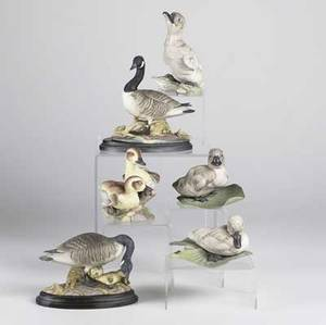 Boehm porcelain six duck and geese figures include two canada geese and four ducklings each 20th c largest 7 14 x 3 12 x 7 14