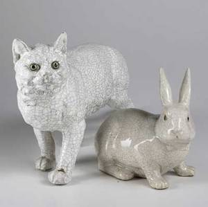 Faience porcelain white cat with glass eyes together with a rabbit 1920th c larger 23 x 11