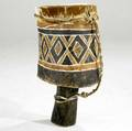 South african drum large and heavy carved wood drum with large geometric painted design and animal hide drum head 35