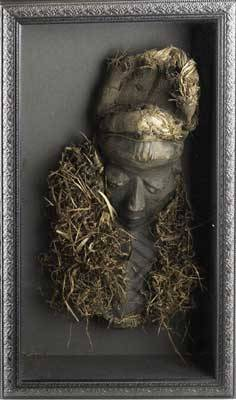Pende mbuya mask zaire africa carved wooden mask with elongated facial features adorned with raffia grass set into a large shadowbox mask 18