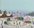 Four art works l bergamo untitled harbor scene oil on parchment framed 8 x 11tamara markova village carnival oil on canvas framed signed 16 x 20 girard untitled  1972 oil on boar